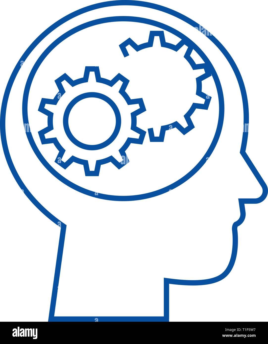 Cabeza humana con engranajes line icono concepto. Cabeza humana con marchas vector plana símbolo, signo, esbozo de la ilustración. Imagen De Stock