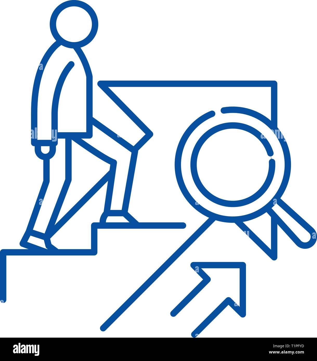 Icono de la línea de crecimiento personal concepto. Crecimiento Personal vector plana símbolo, signo, esbozo de la ilustración. Imagen De Stock