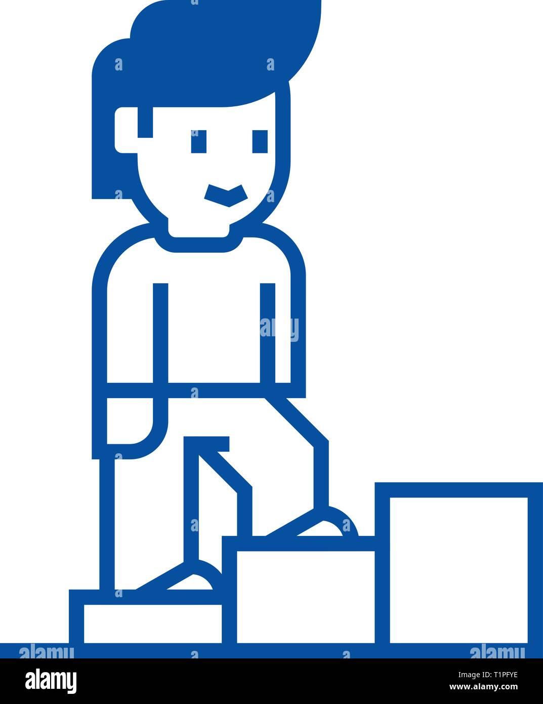 Crecimiento Personal,man escaleras line icono concepto. Crecimiento Personal,man escaleras arriba vector plana símbolo, signo, esbozo de la ilustración. Imagen De Stock