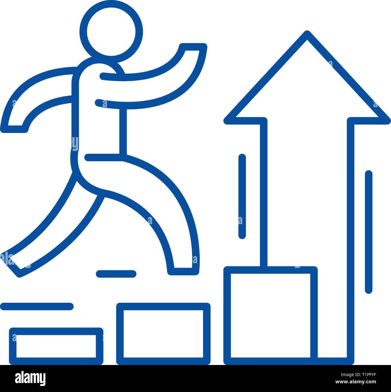 Icono de línea de mejora personal concepto. Mejora Personal vector plana símbolo, signo, esbozo de la ilustración. Imagen De Stock