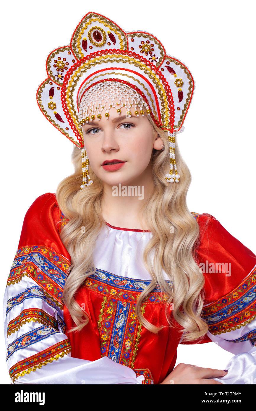 2f4caeb09 Traje folclórico tradicional ruso, retrato de una joven hermosa ...