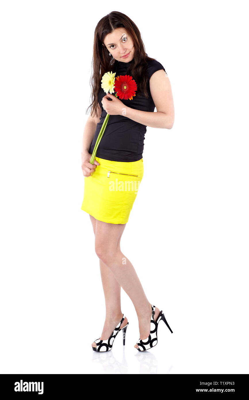 a20859f2dc Short Black And White Skirt Imágenes De Stock   Short Black And ...