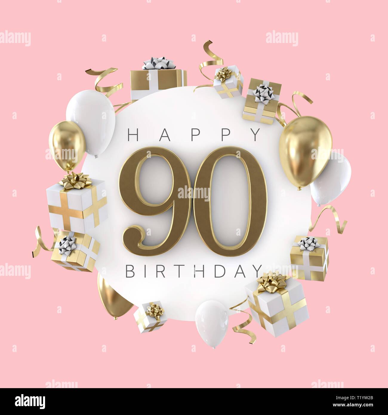 Feliz Cumpleaños 90 Composición Con Globos Y Regalos 3d
