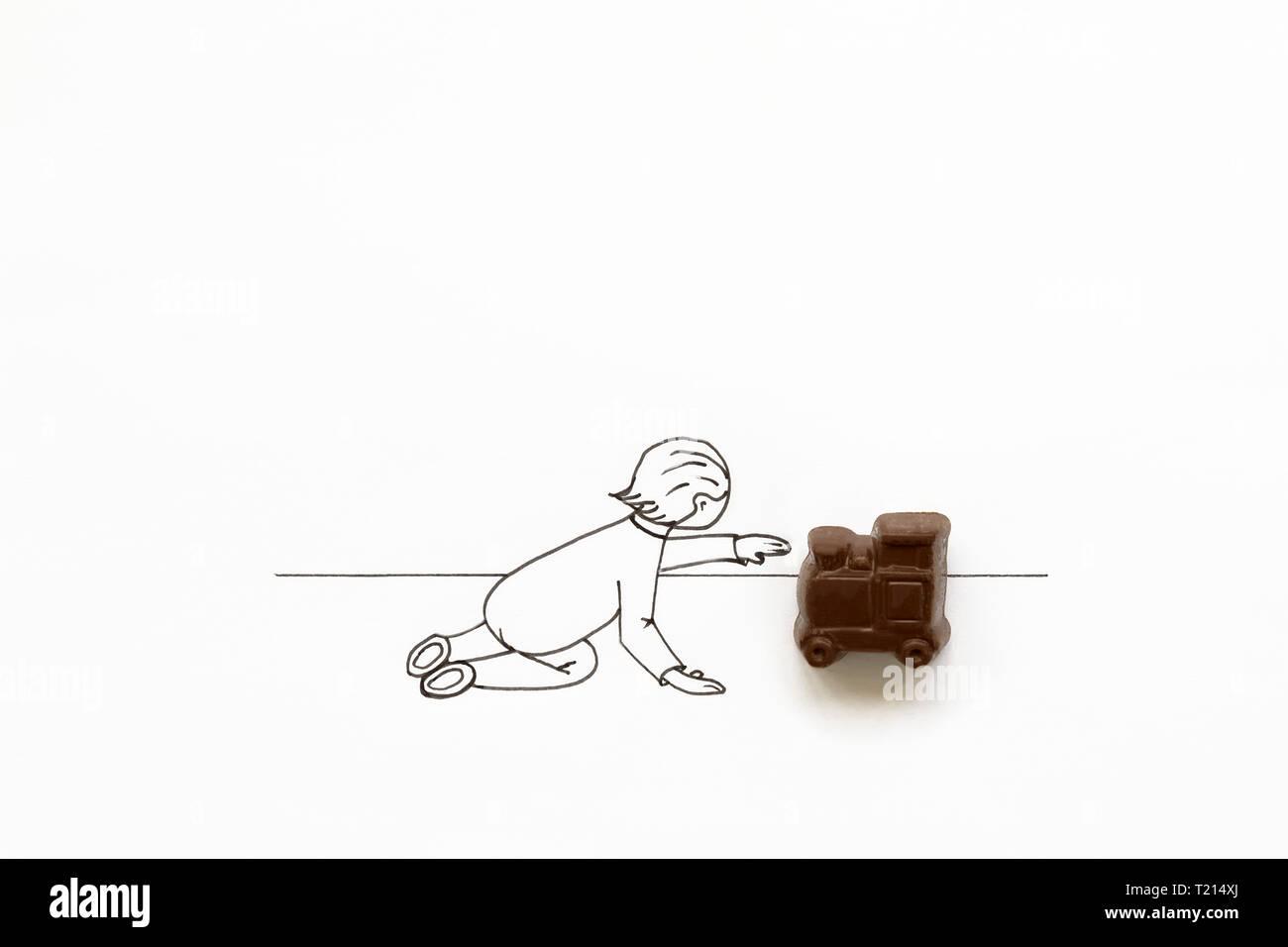 Dibujo Alzada Jugando A Dibujos Mano Con Animados De Bebé Lindo PZuikXO