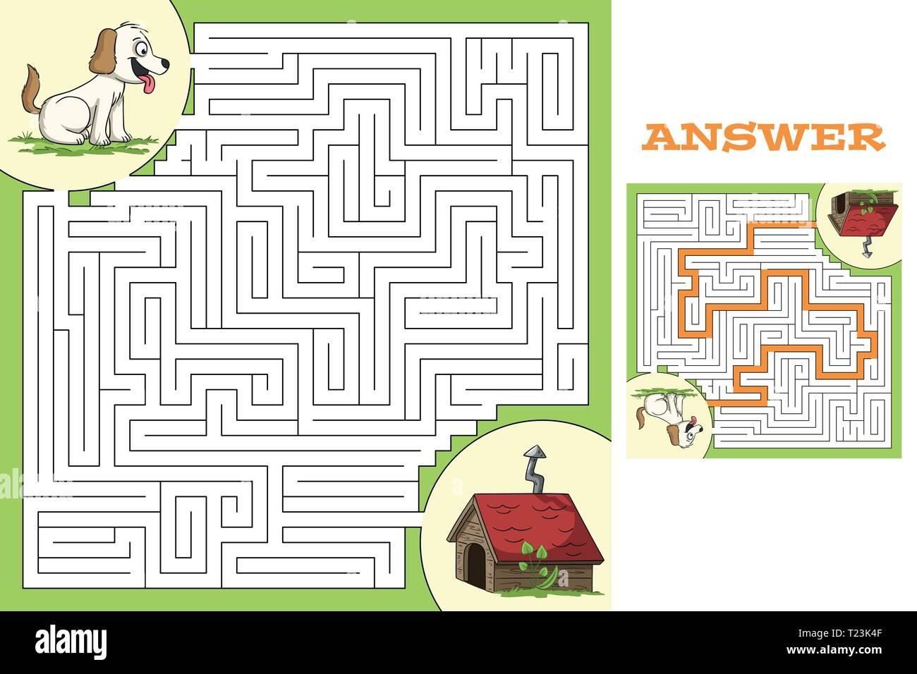 Juego puzzle de dibujos animados con la solución. Ilustración vectorial con capas separadas. Ilustración del Vector