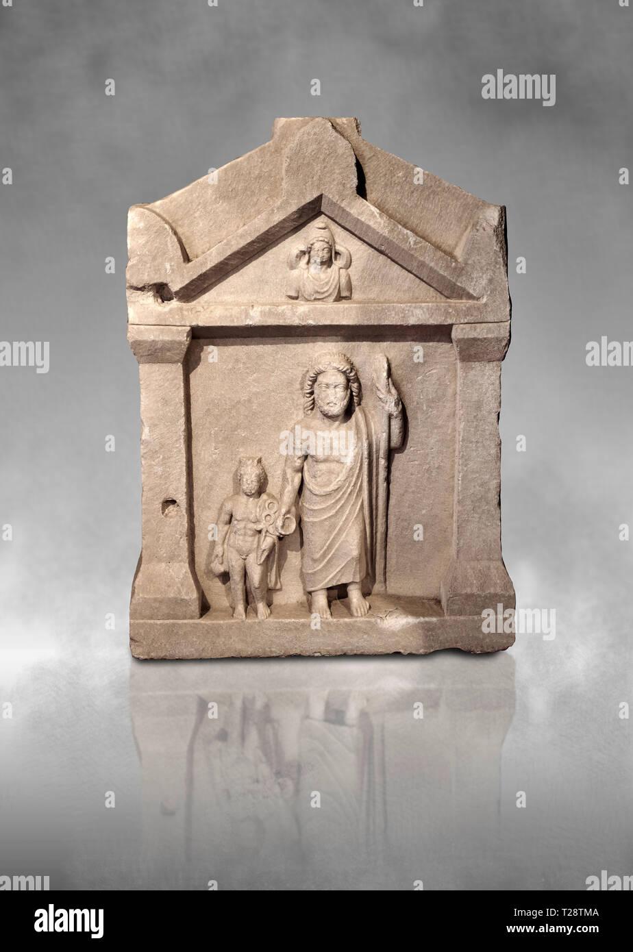 Socorro romana estela funeraria de Hierápolis Necrópolis del Norte. Museo de Arqueología de Hierápolis, Turquía Foto de stock