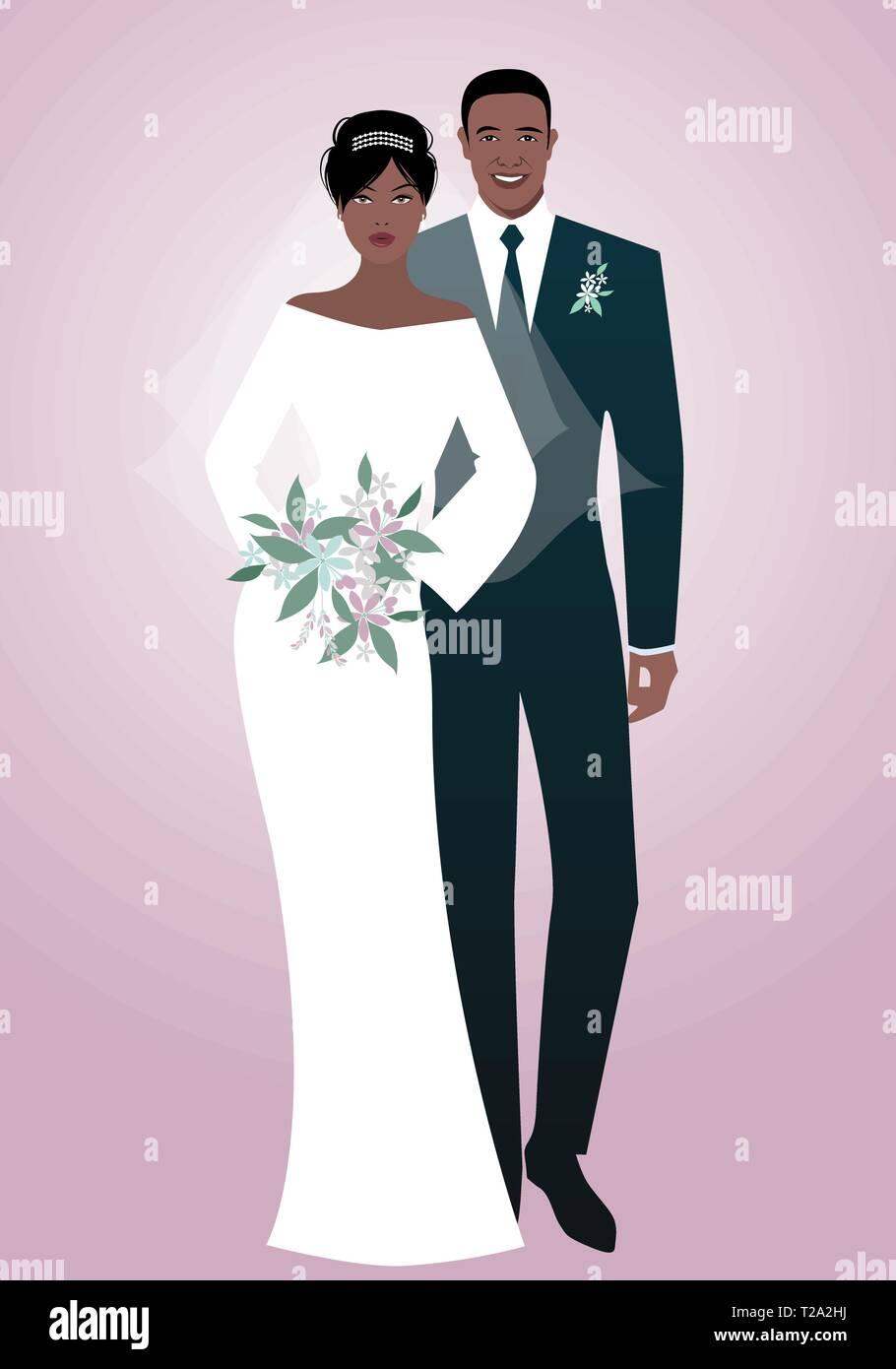 2fc92cbc9 Afro joven pareja de novios vestidos de boda ropa. El novio elegante ...