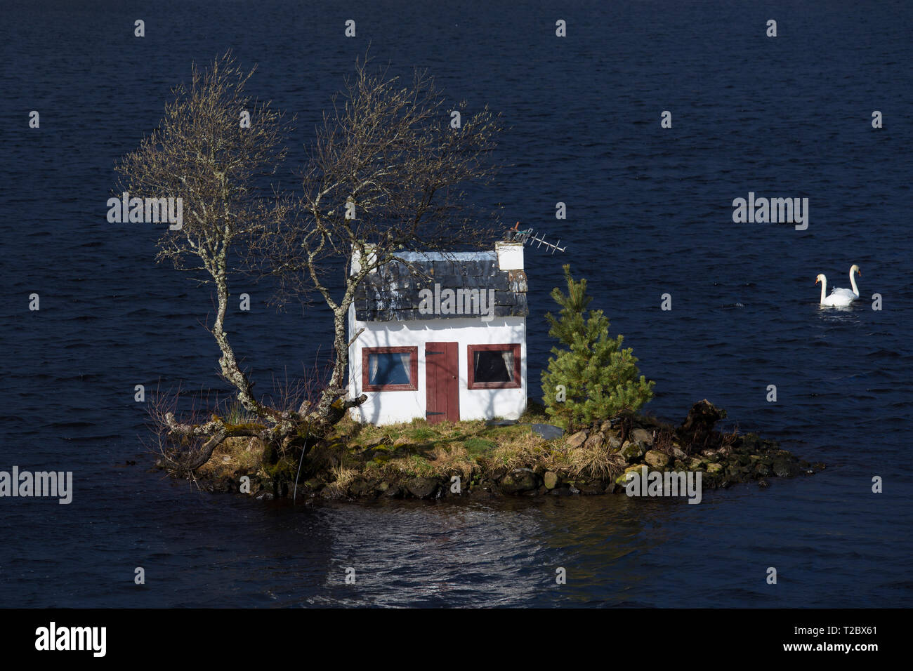 Casa modelo, Loch Shin, Lairg Foto de stock