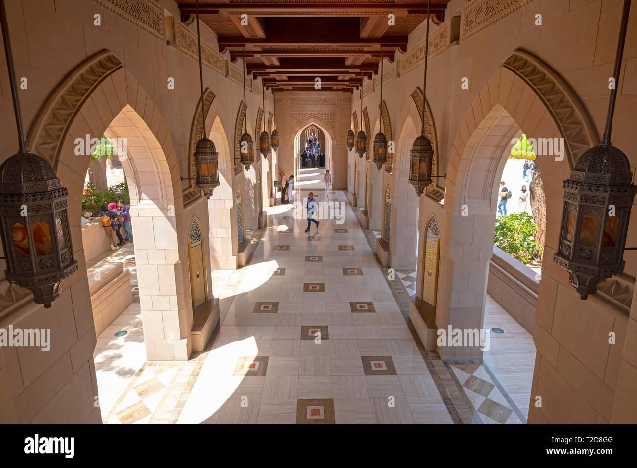 Gran Mezquita Sultan Qaboos en Muscat, Omán Foto de stock