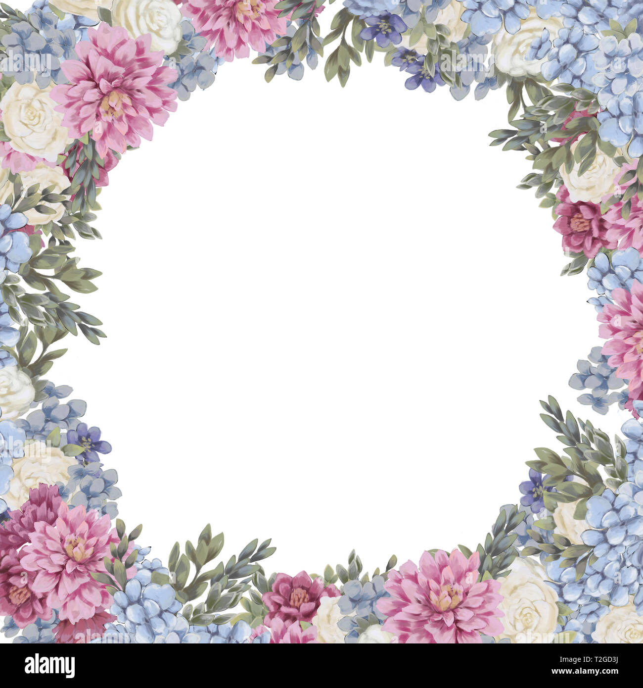 Bastidor De Diseño Floral Para Guardar La Fecha Tarjetas