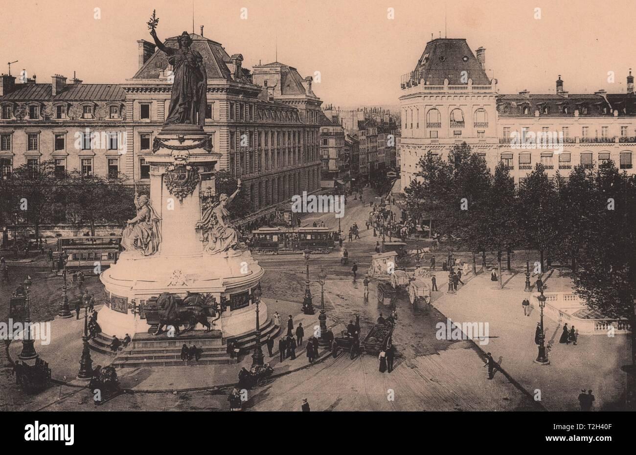 Rue du Temple - place de la République. Foto de stock
