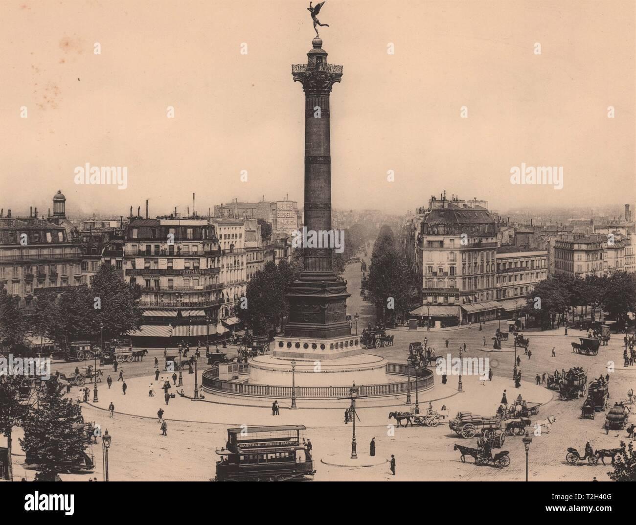 Place de la Bastille-Colonne de Juillet Foto de stock