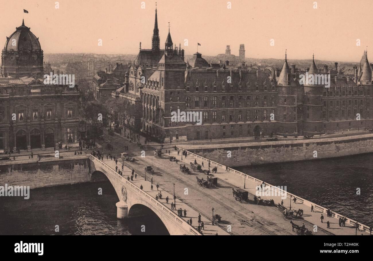 Le Pont Saint-Michel et la Conciergerie; Le Pont au Change et Le Palais de Justice Foto de stock