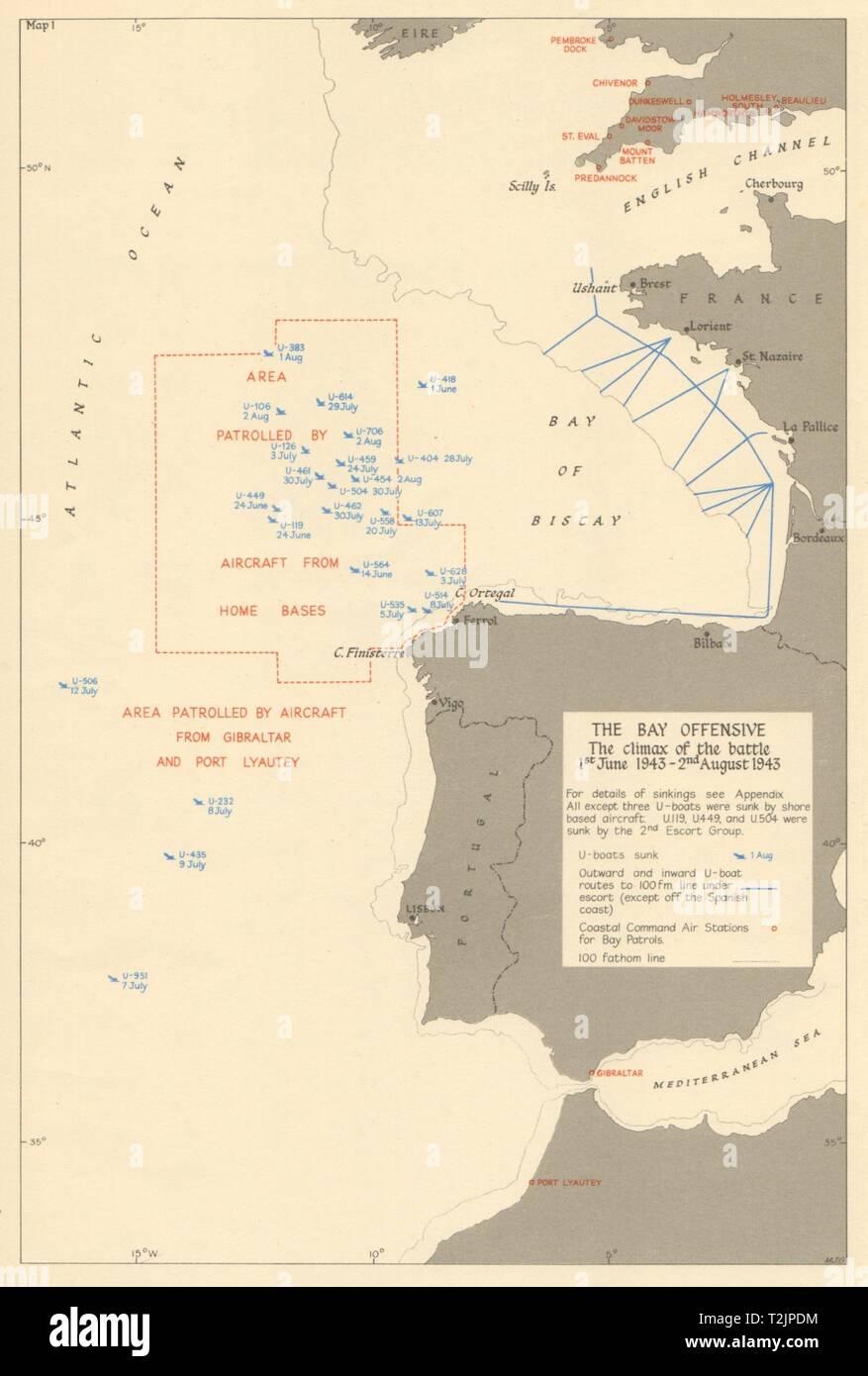 Golfo De Vizcaya Mapa.El Golfo De Vizcaya U Boat Hundimientos Batalla Del