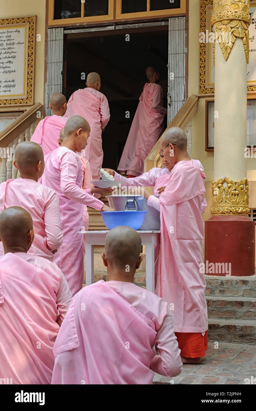 Las monjas novicios en cola para el almuerzo en la escuela del Convento Thilashin Sakyadhita,Sagaing, cerca de Mandalay, Myanmar (Birmania) Imagen De Stock