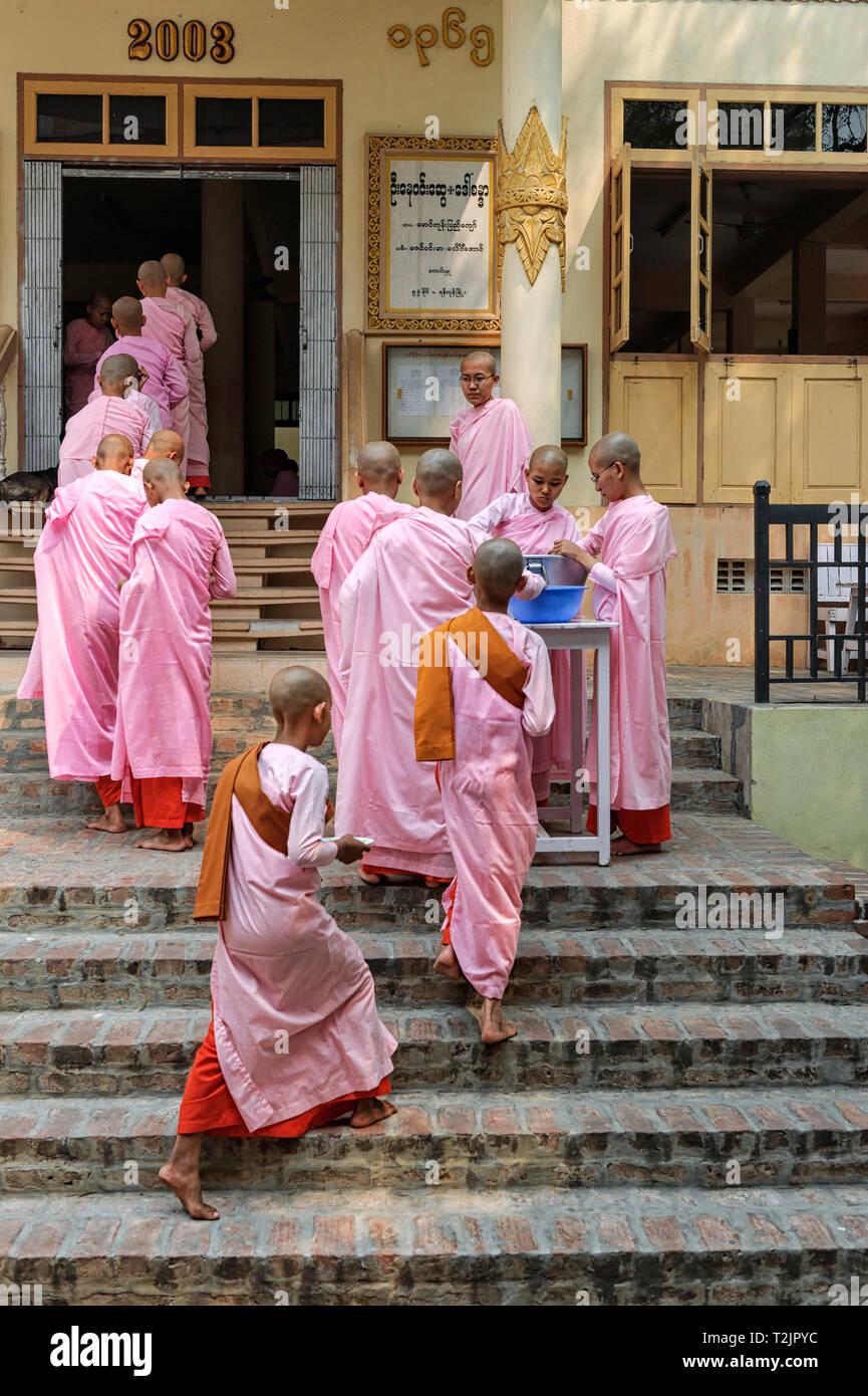 Las monjas novicios en cola para el almuerzo en la escuela del Convento Thilashin Sakyadhita,Sagaing, cerca de Mandalay, Myanmar (Birmania) Foto de stock