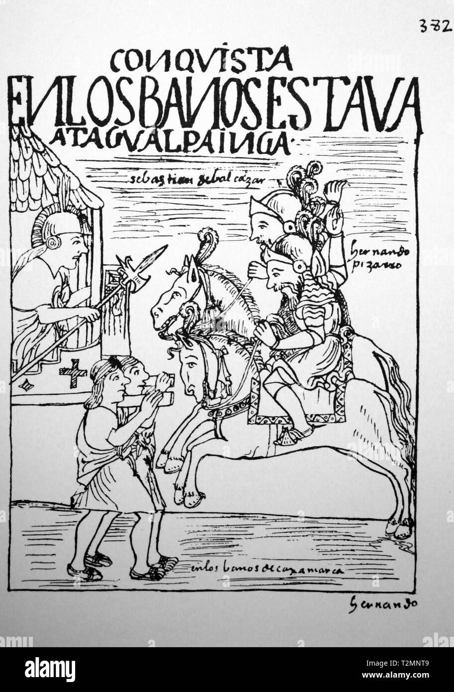 Los Conquistadores enfrentar Inca Atahualpa en Cajamarca Royal Bath por Felipe Guaman Poma de Ayala (1535- 1616)El primer nueva crónica y buen gobierno. Imagen De Stock
