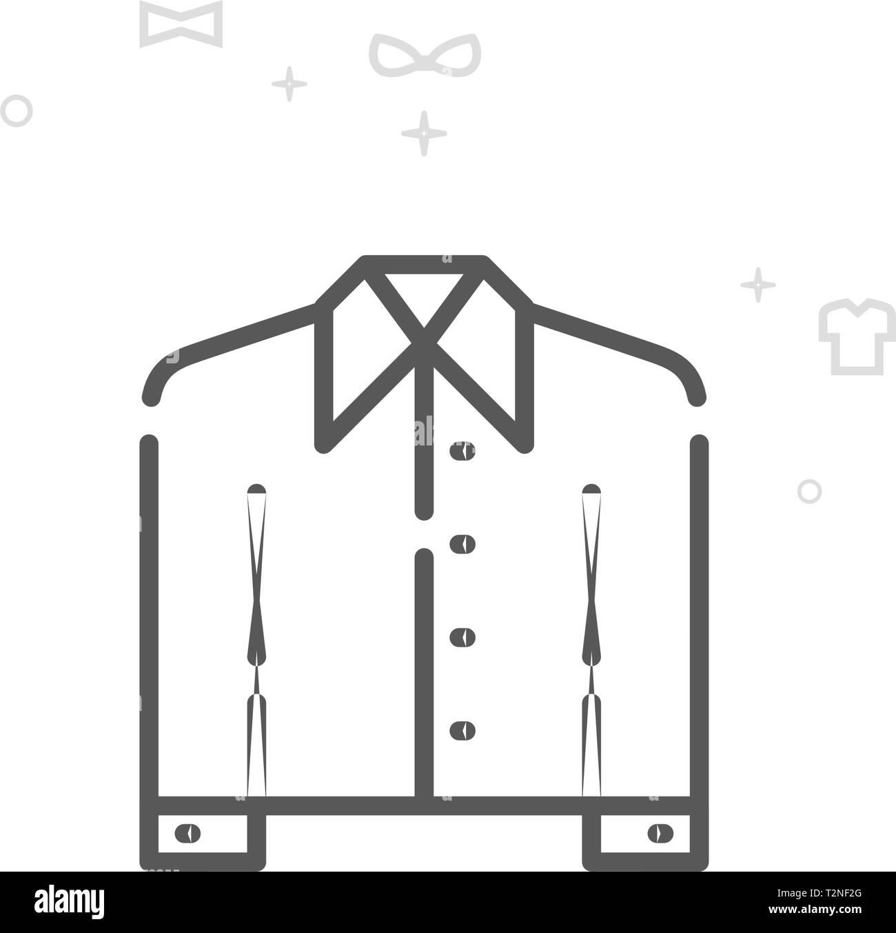 841e699f34 Camiseta uniforme con un collar línea vector icono. Las prendas de ropa