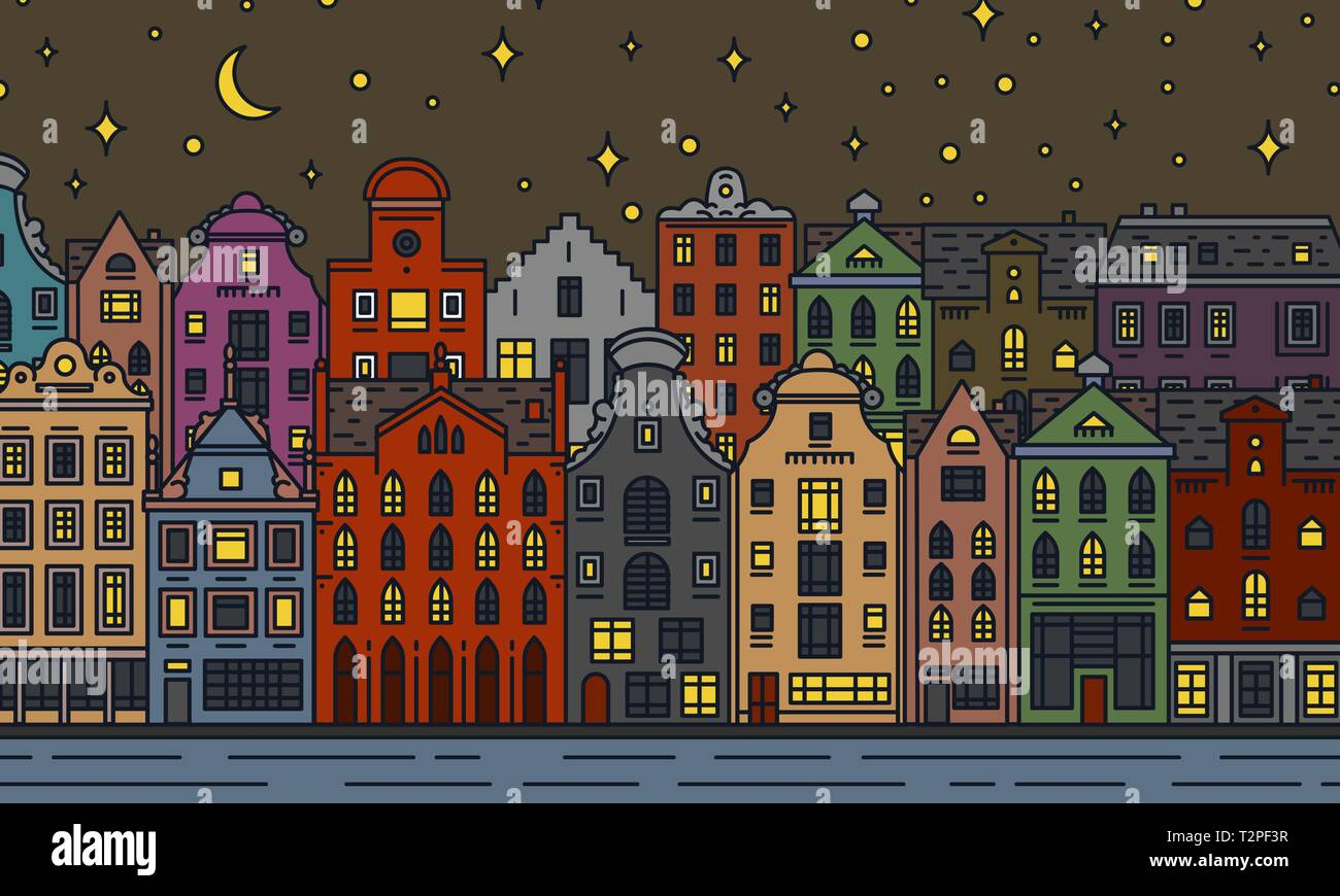 Apartamentos y casa de Europa. Noche de luna en Amsterdam. Linda arquitectura en Amsterdam. Barrio con calle clásico y acogedor hogar. Edificio y fa Ilustración del Vector