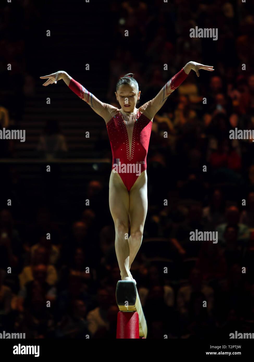 Birmingham, Inglaterra, Reino Unido. 23 de marzo, 2019. Francia Heduit Carolann en acción durante la competición, haz de la mujer durante el 2019, la Copa del Mundo de gimnasia Foto de stock