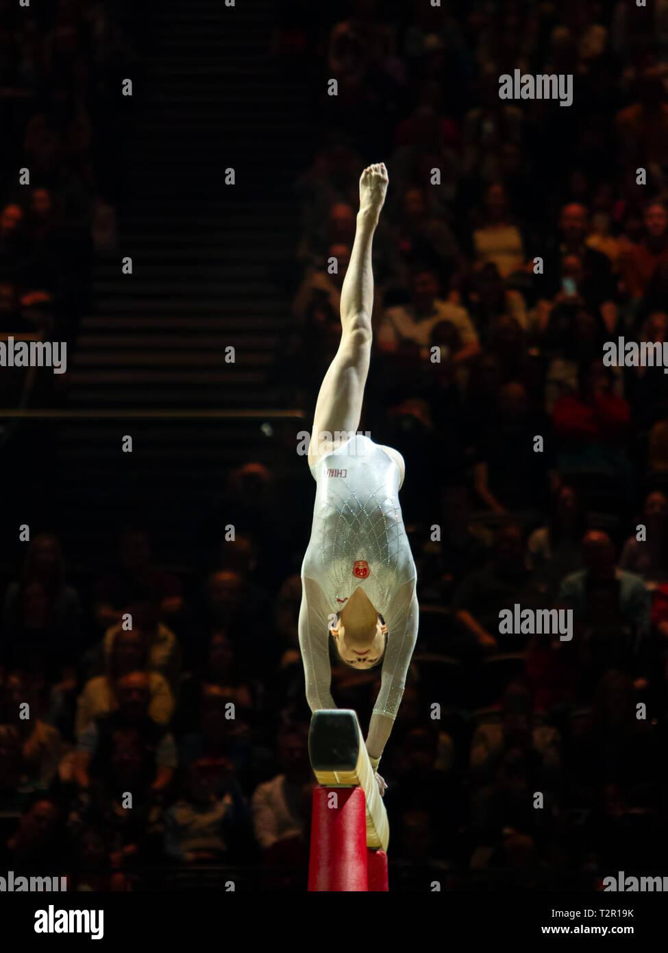 Birmingham, Inglaterra, Reino Unido. 23 de marzo, 2019. China Liu Jieyu en acción durante la competición, haz de la mujer durante el 2019, la Copa del Mundo de gimnasia en la Foto de stock