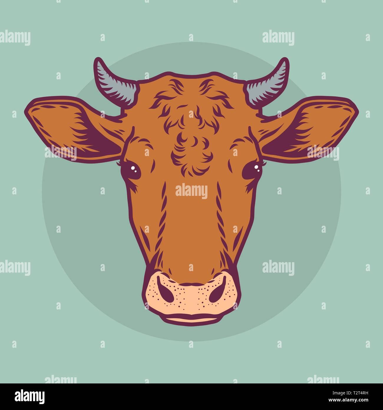 Cabeza De Vaca Marrón Icono Cartoon Ny Dibujado Ilustración De