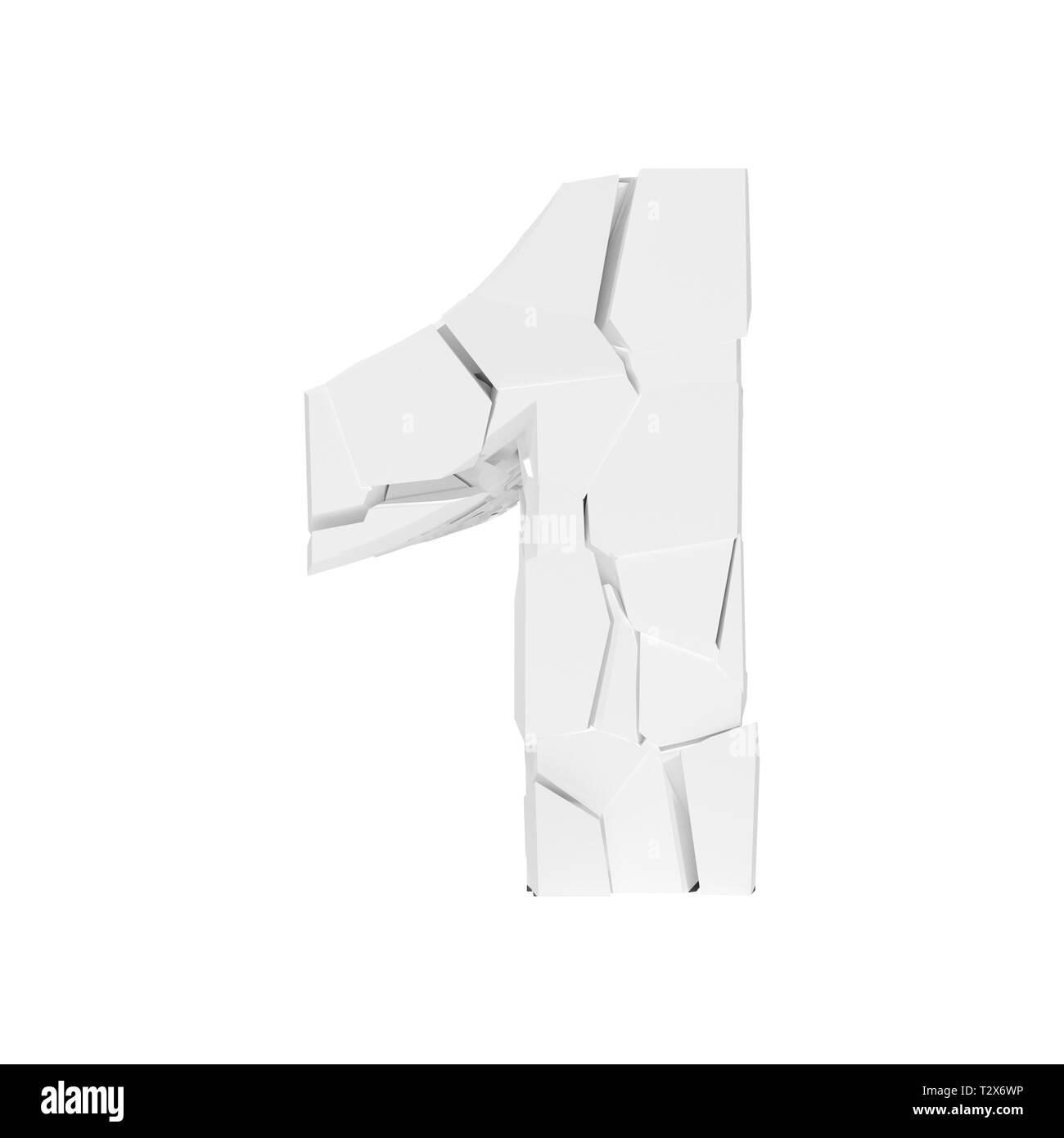 Forma 3D blanco número 1 texto agrietado. Imagen De Stock