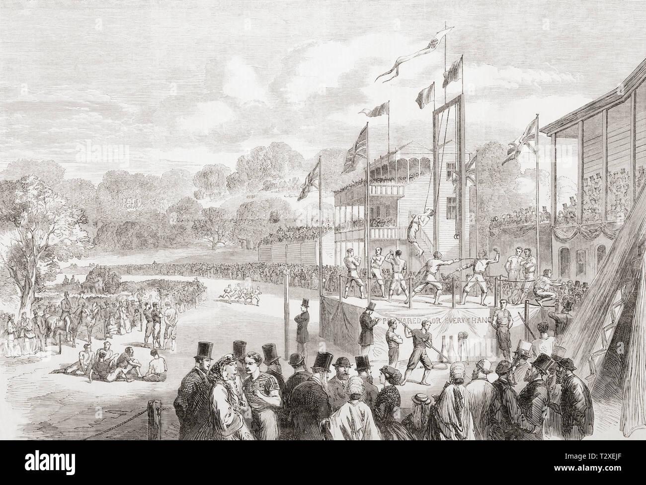 El Festival atlético Manchester anual celebrada en el Hipódromo de Manchester, 1865. Desde el Illustrated London News, publicada el año 1865. Imagen De Stock