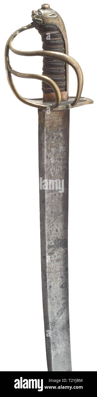 Armas, espadas, backsword, Sabre, siglo XVIII, sólo Editorial-Use Foto de stock