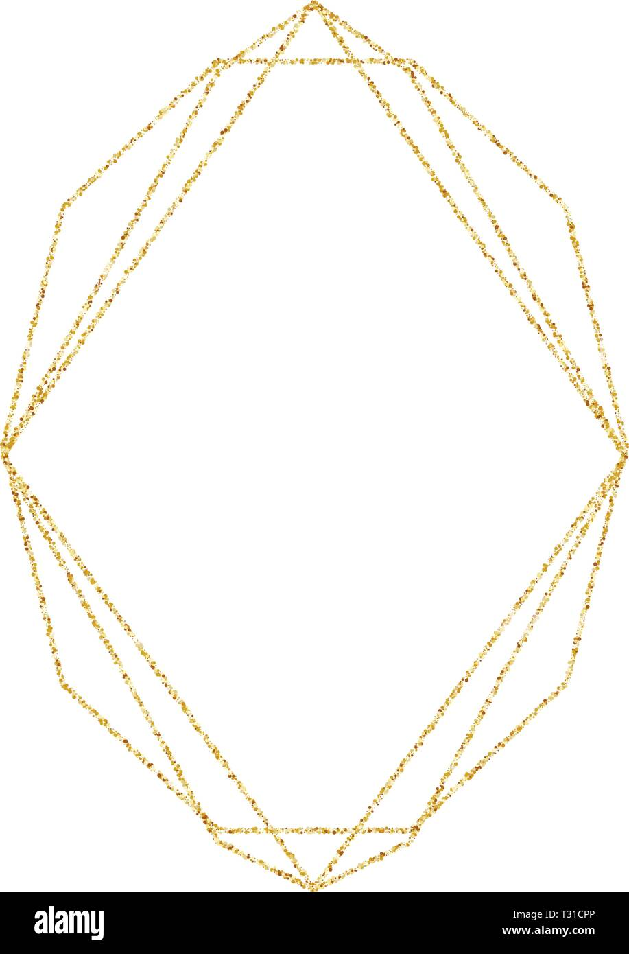Marco Dorado Geométrica Para Bodas O De Invitación De