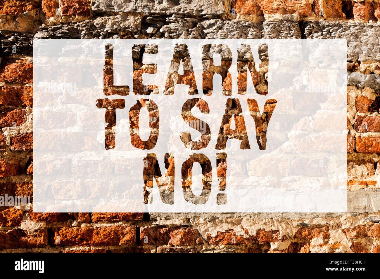 Texto De Escritura Aprender A Decir No Foto Conceptual