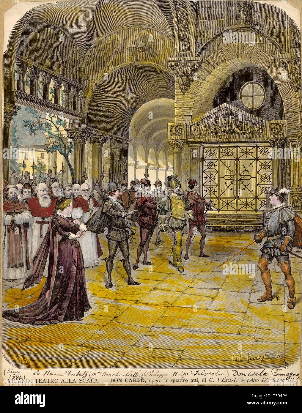 Don Carlos, ilustración de Don Carlos, ópera compuesta por Giuseppe Verdi la Ley IV, V en la versión original, Don Carlos, un cinco-act grand ópera compuesta por Giuseppe Verdi Imagen De Stock