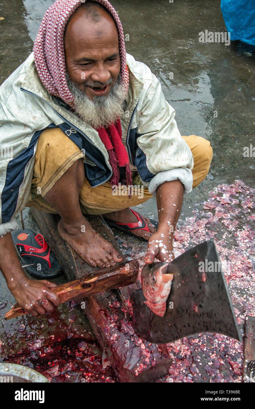 Cortar el pescado en la manera tradicional en el mercado, Mahasthan, distrito de Bogra, división de Rajshahi, Bangladesh Imagen De Stock
