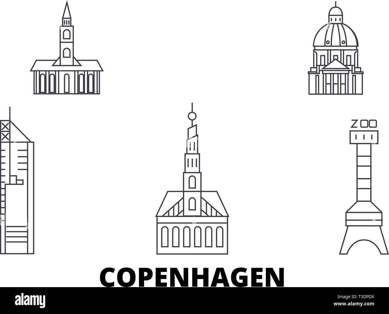 Dinamarca, Copenhague City line travel skyline. Esquema de la ciudad de Copenhague, Dinamarca ilustración vectorial, símbolo de la ciudad, lugares turísticos, monumentos. Ilustración del Vector