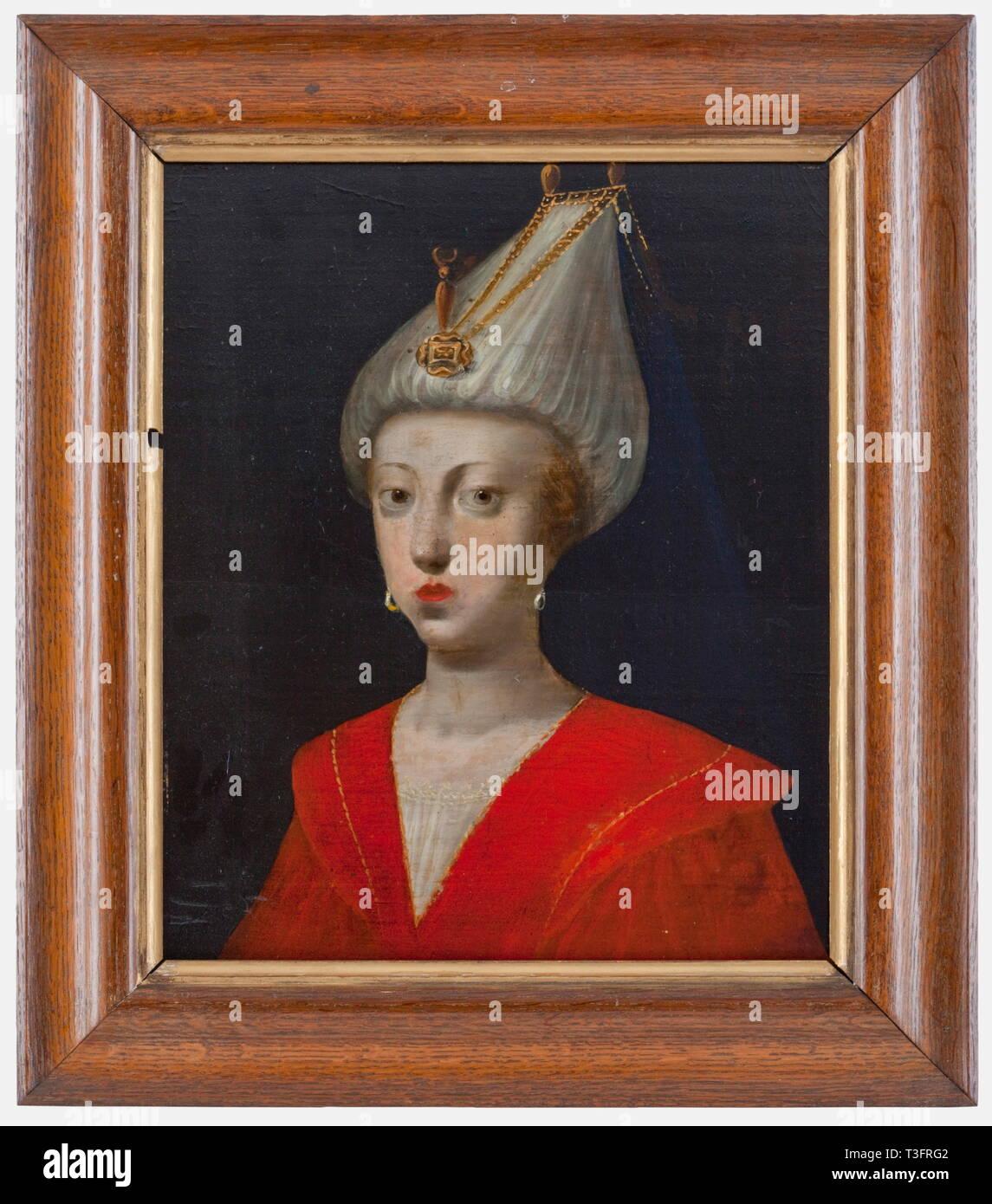 Un retrato de Roxelane, Alemania o Francia, siglo XVIII Oleo sobre madera de roble. Busto retrato de una joven mujer rubia fresa con harem turco vestido y joyas de oro. Panel de la pintura roto en el oriente, restaurada. Posteriormente el bastidor de madera de roble. Dimensiones de la pintura de 31 x 26 cm, enmarcado dimensiones 40 x 35 cm. Roxelane era una joven chica polaca que fue secuestrado por los tártaros de Crimea y vendido a Estambul como un esclavo para el harén del antiguo harén. Como el primer esclavo concubina nunca fue liberada a la libertad por el sultán y se convirtió en la potencia, Additional-Rights-Clearance-Info-Not-Available Foto de stock