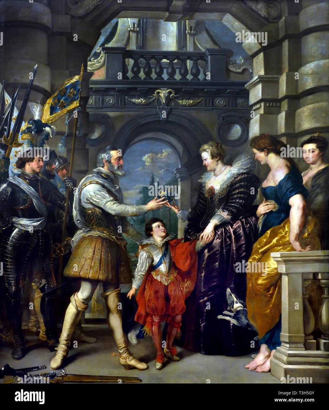 La consignación del Regency - El Marie de Médicis Ciclo 1622-1624 por Peter Paul Rubens, encargado por la Reina María de Médicis, viuda del rey Enrique IV de Francia, para el Palacio de Luxemburgo en París, Imagen De Stock