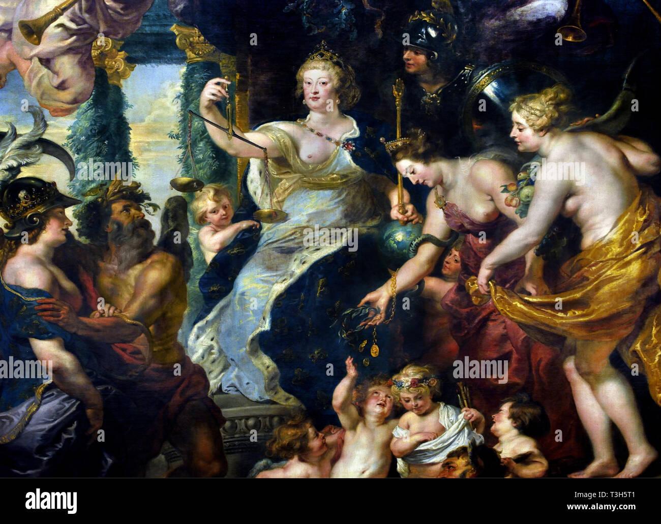 La felicidad de la regencia de María de Médicis - El Marie de Médicis Ciclo 1622-1624 por Peter Paul Rubens, encargado por la Reina María de Médicis, viuda del rey Enrique IV de Francia, para el Palacio de Luxemburgo en París, Imagen De Stock