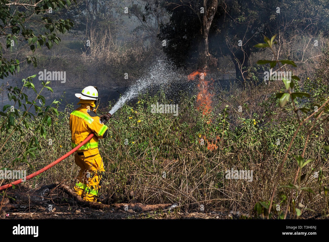 Sierra Leona de entrenamiento del equipo de respuesta de emergencia de demostrar las técnicas de combate de incendios, mientras que el fuego se rompe entre bosques y comunidad Foto de stock