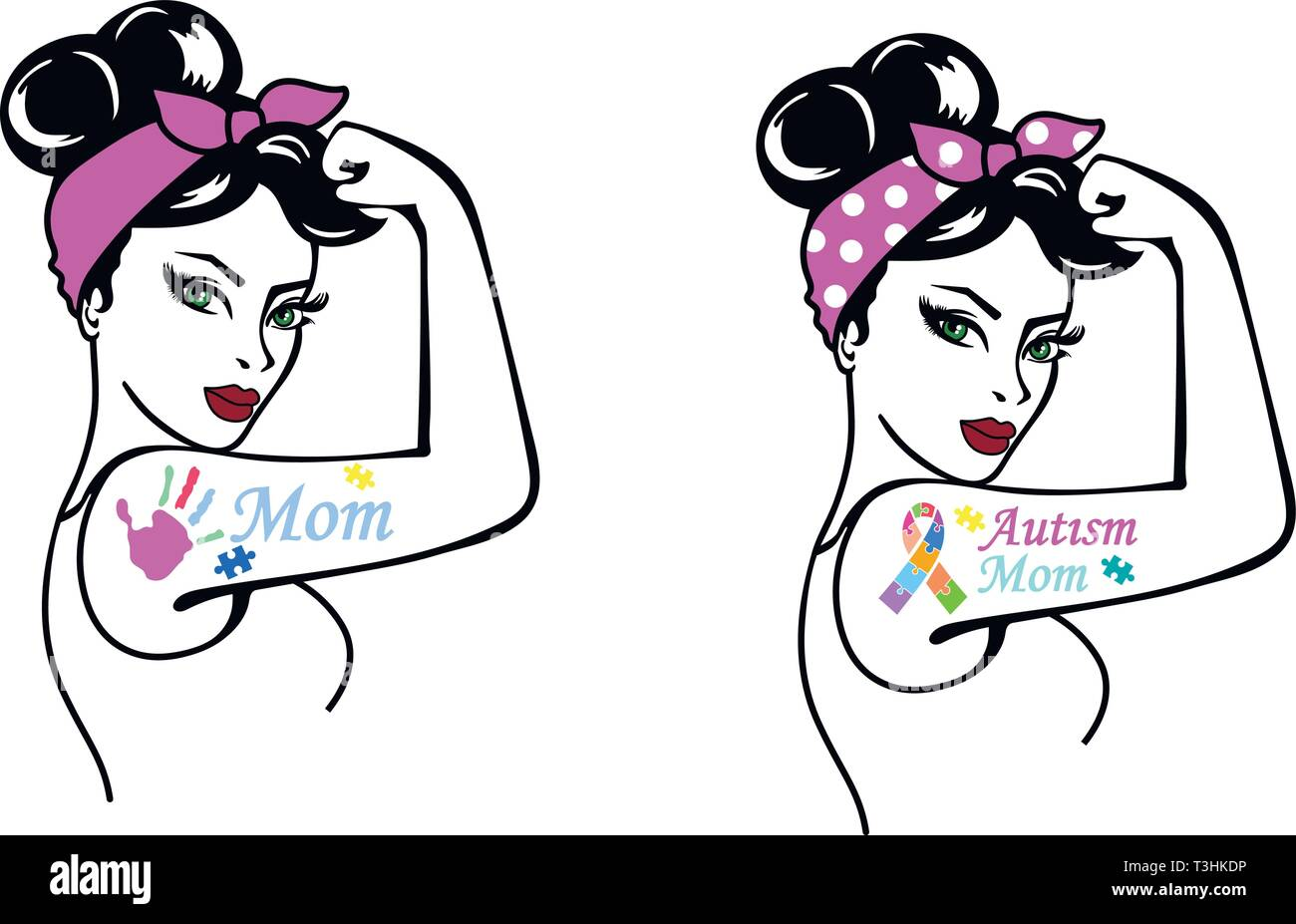 Rosie Girl Power. El autismo de MOM. Rosie la remachadora. Imagen De Stock