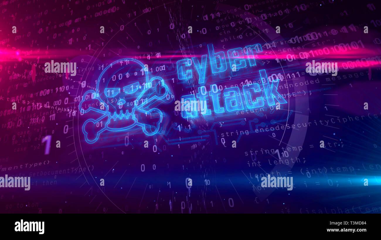 Ataque cibernético holograma en fondo digital. Alerta de peligro, la amenaza, la infección y la noción abstracta de advertencia con el símbolo del cráneo. 3D futurista illustratio Imagen De Stock