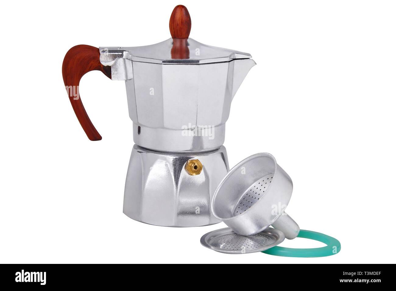 El géiser metálicos cafetera, cafetera aislado sobre fondo