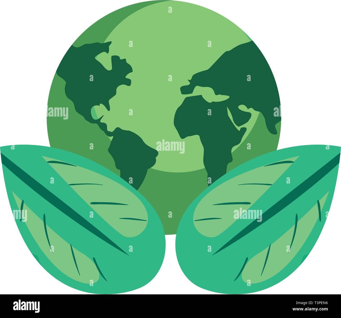 Día mundial de la tierra de hojas naturales ilustración vectorial Imagen De Stock