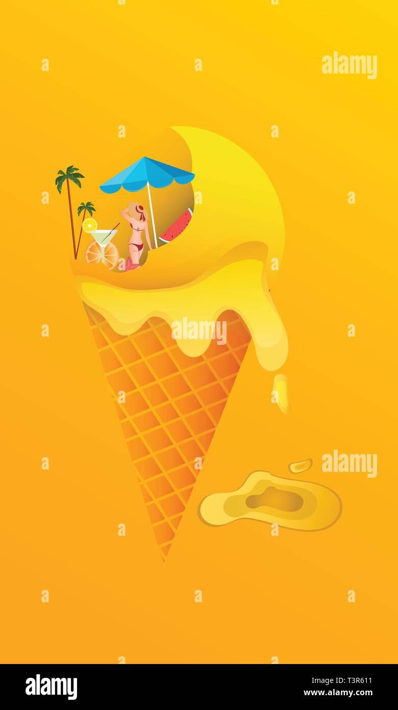 Póster de vectores de verano, helado en fondo amarillo Imagen De Stock