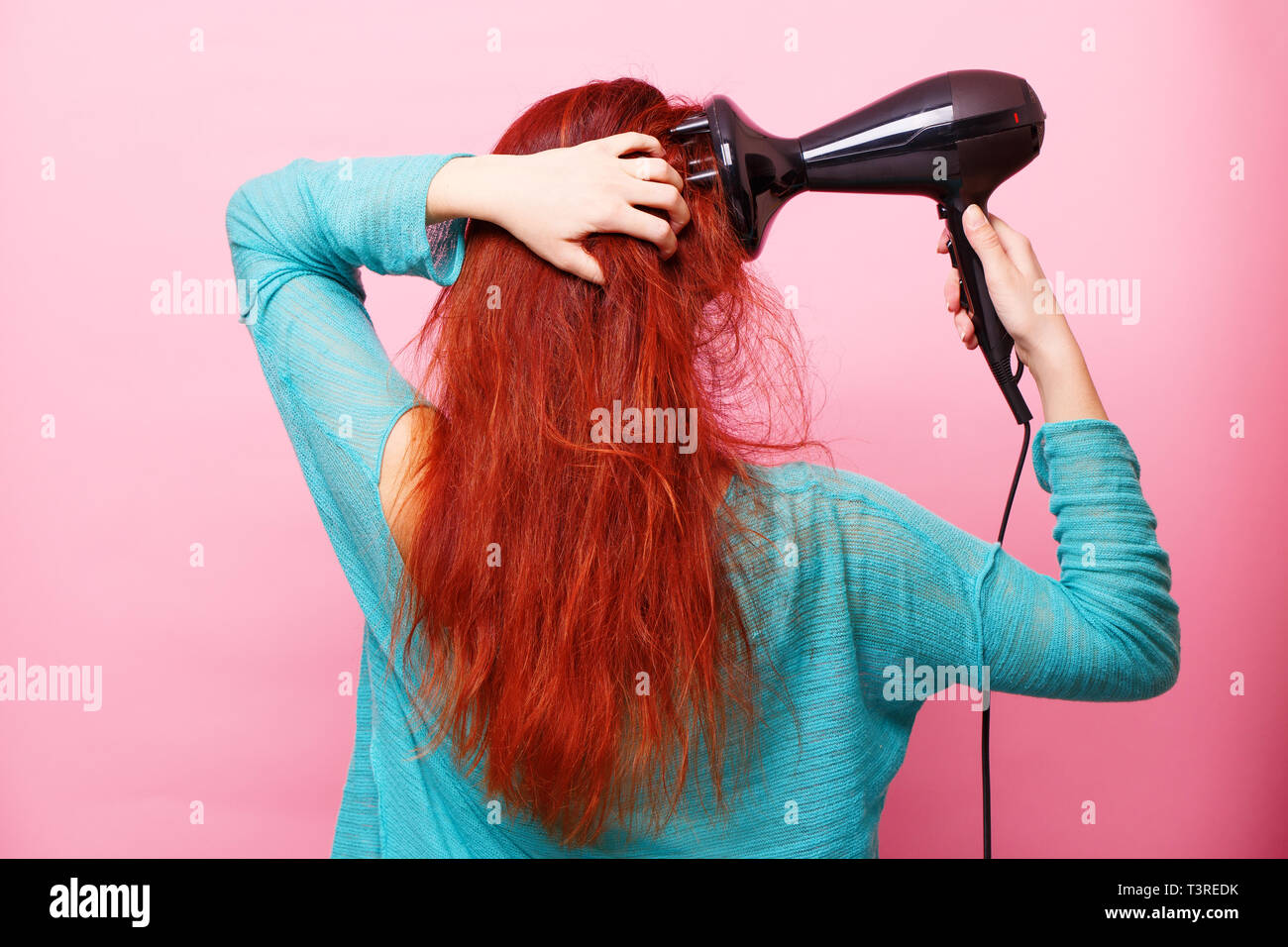 Secador de pelo color rosa
