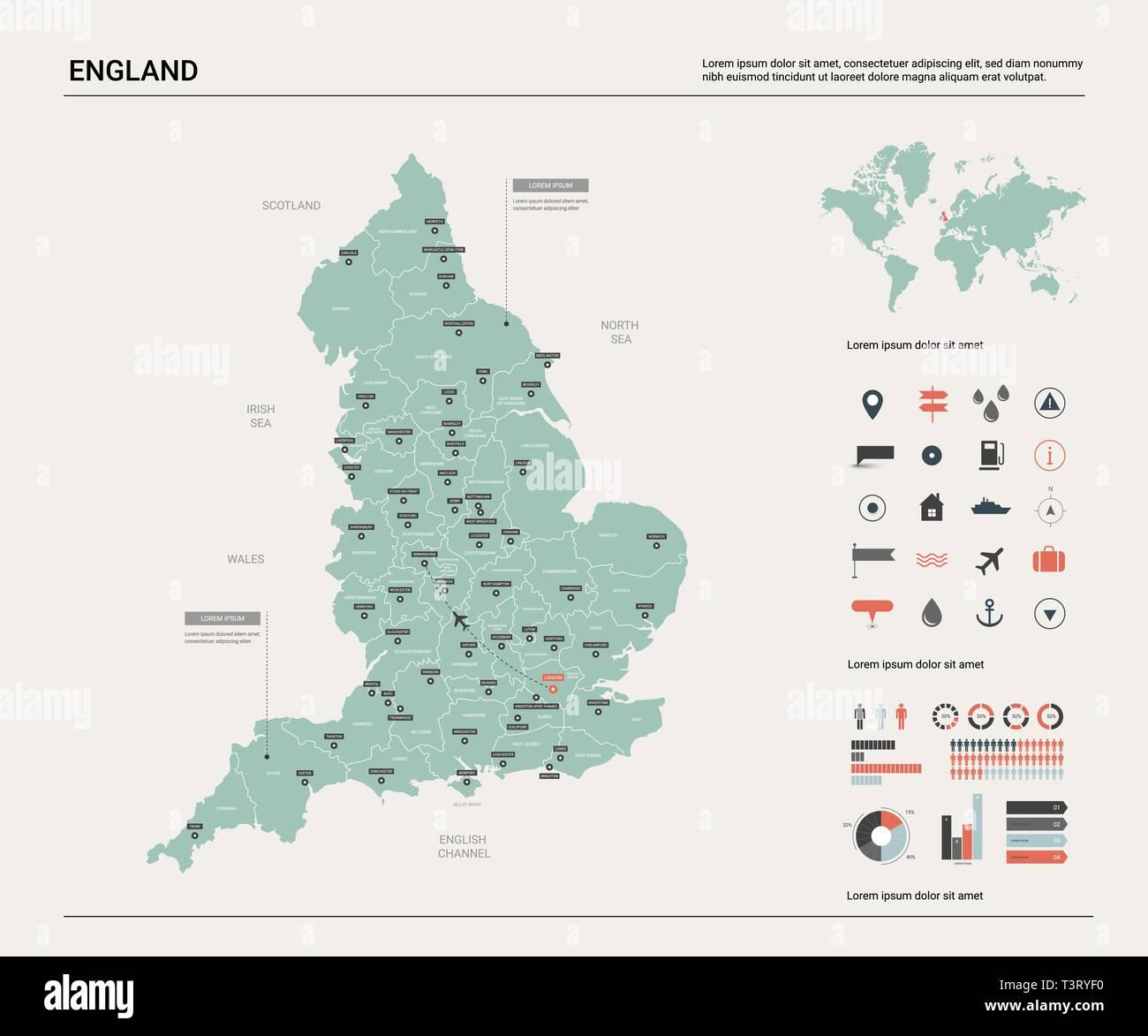Ciudades De Inglaterra Mapa.Mapa De Vectores De Inglaterra Alta Pais Detallado Mapa Con