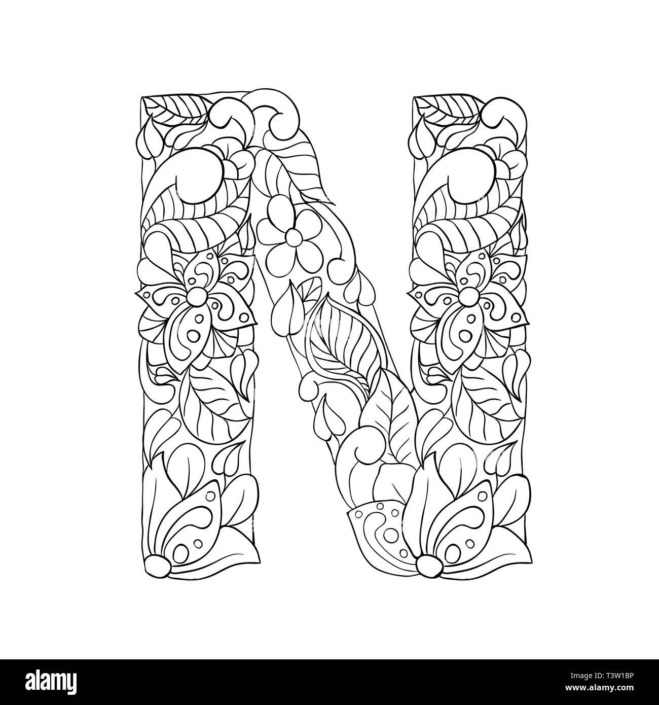Letra N Floral Ilustración De Esquema Símbolo Del Alfabeto
