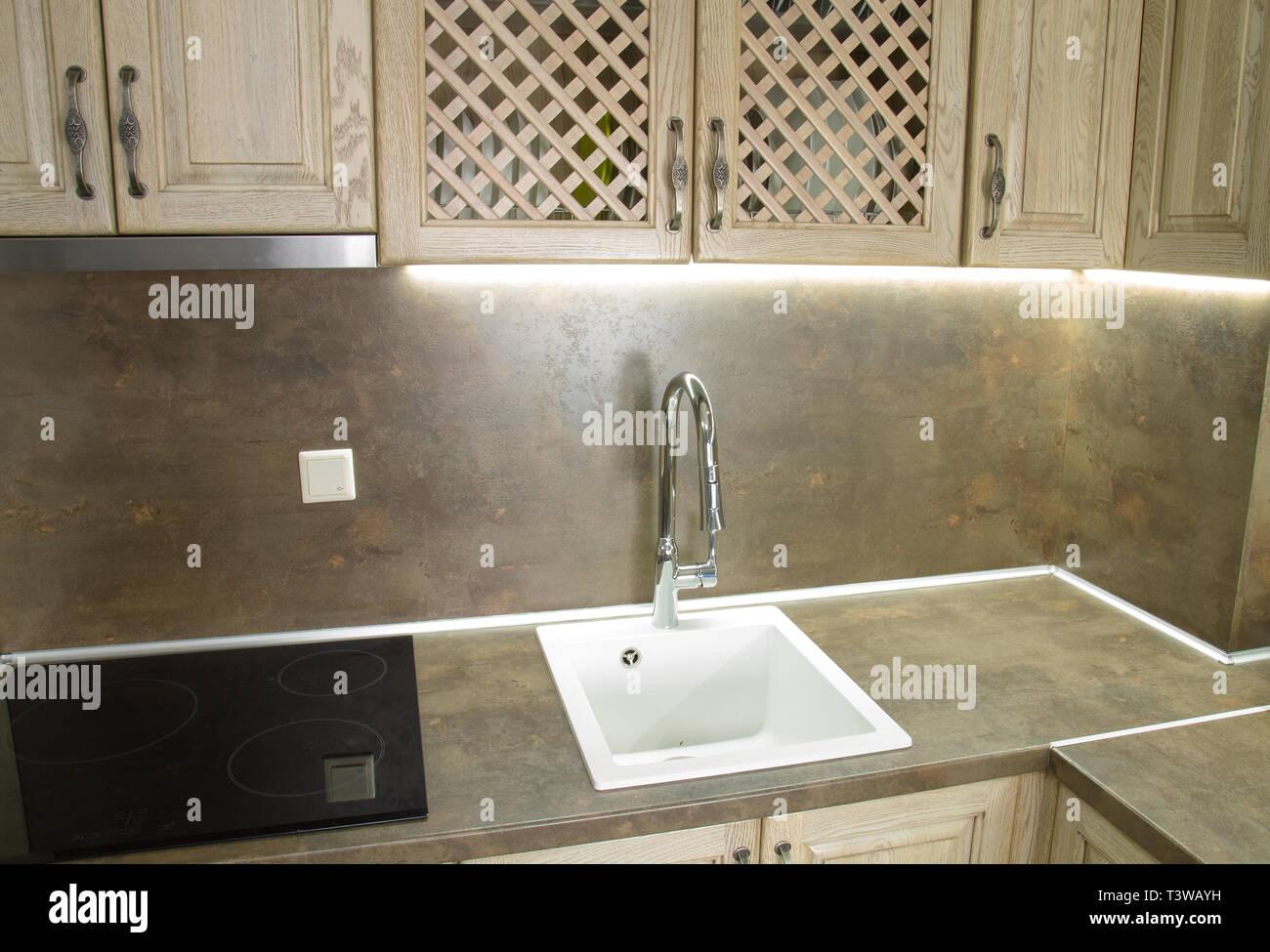 Detalles de estilo vintage muebles de cocina en color marrón beige ...