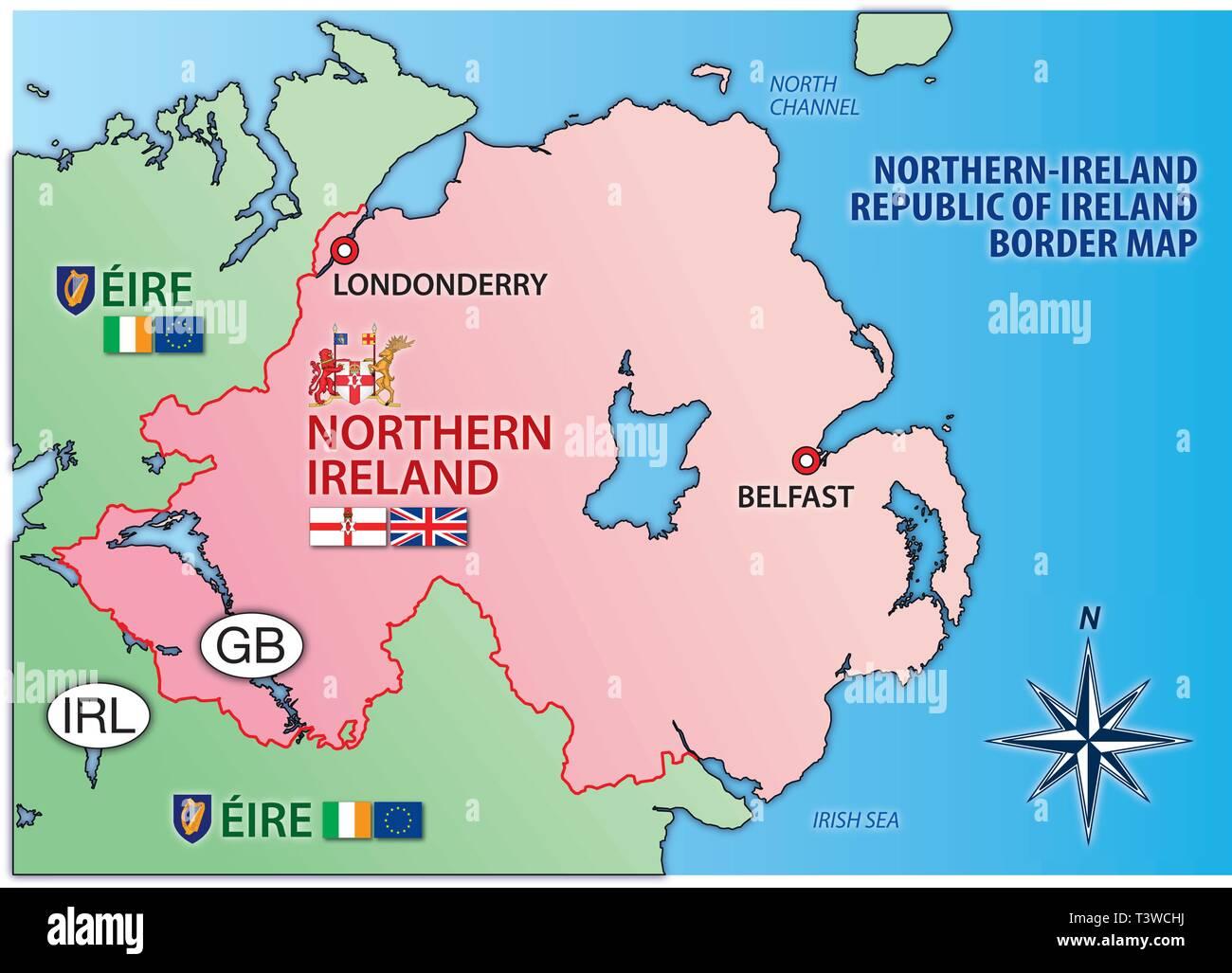 Mapa Irlanda Del Norte.Irlanda Del Norte E Irlanda Mapa Con Fronteras Banderas Y