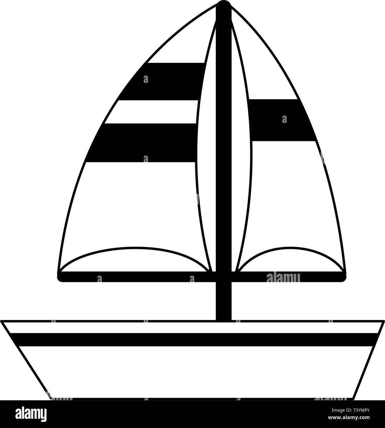 Símbolo De Barco Velero Caricatura En Blanco Y Negro Ilustración Del