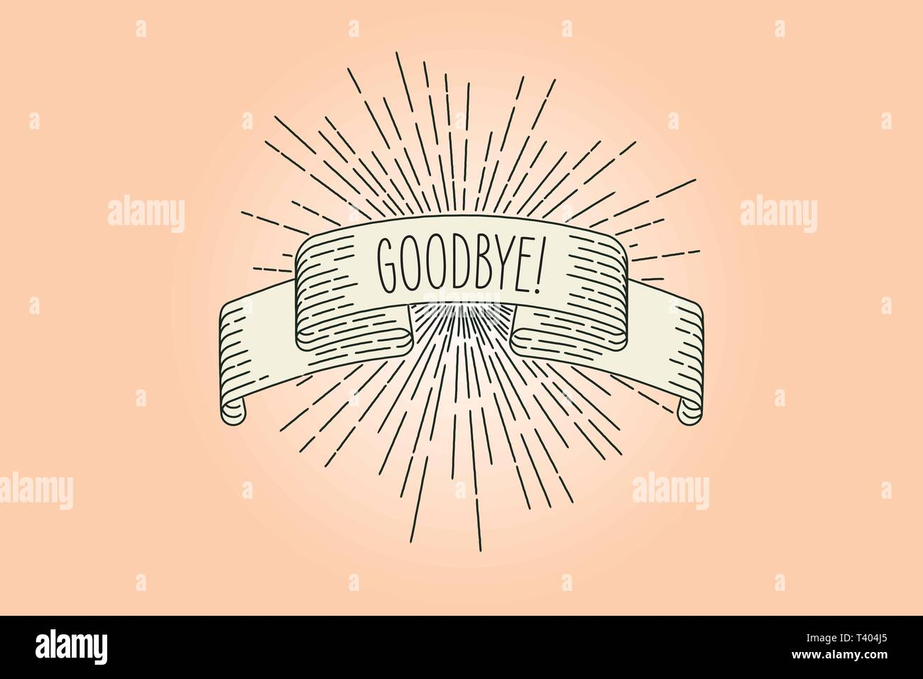 Adiós banner. Tarjeta de felicitación de banner de cinta de despedida en vintage mirar con palabra adiós, grabado estilo gráfico. Elemento de diseño retro. Vector Illustra Imagen De Stock
